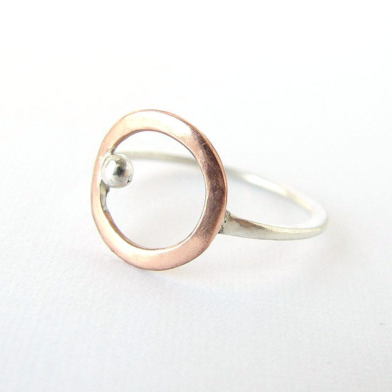 Sterling silver and copper circle . Simple delicate ring