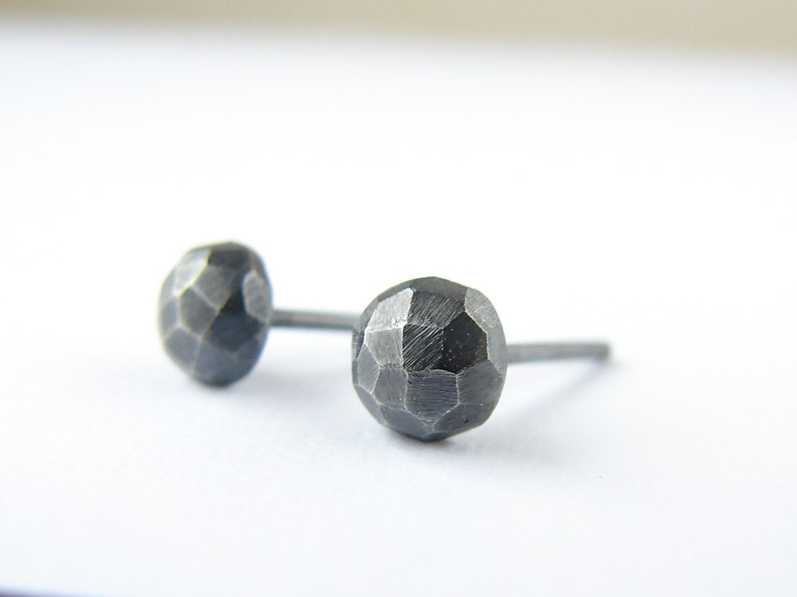 Small faceted studs . Black oxidized sterling silver earrings