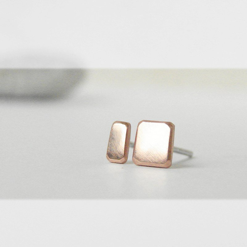 Mini stud earrings . Asymmetric copper posts