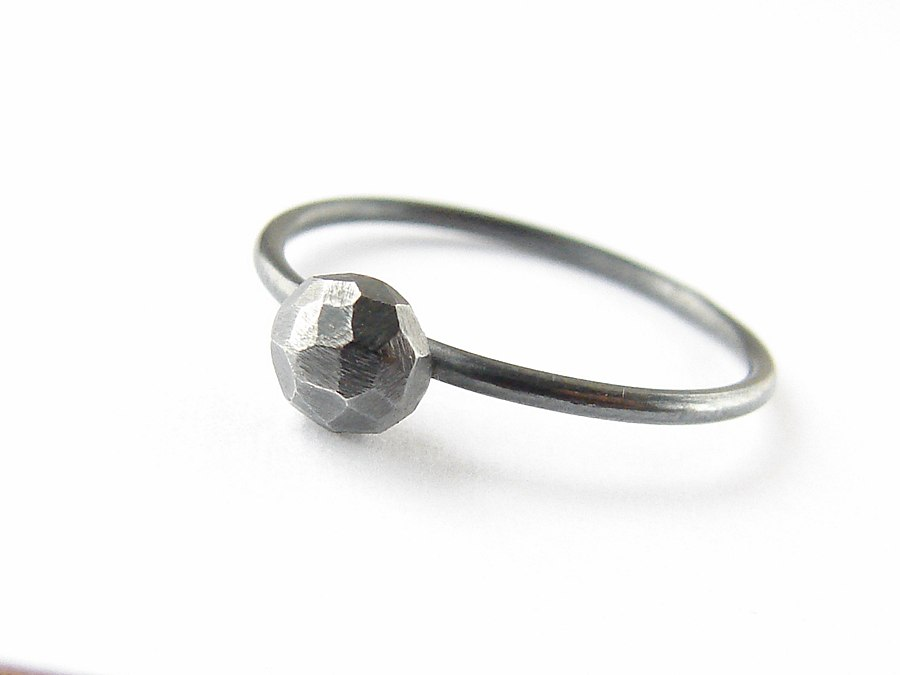 Oxidized silver ring . Black stacker with faceted nugget