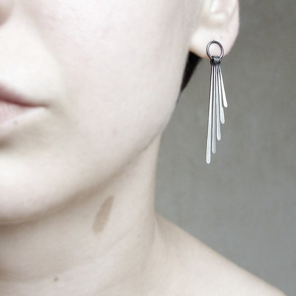Sterling silver earrings . Oxidized ombre fringe