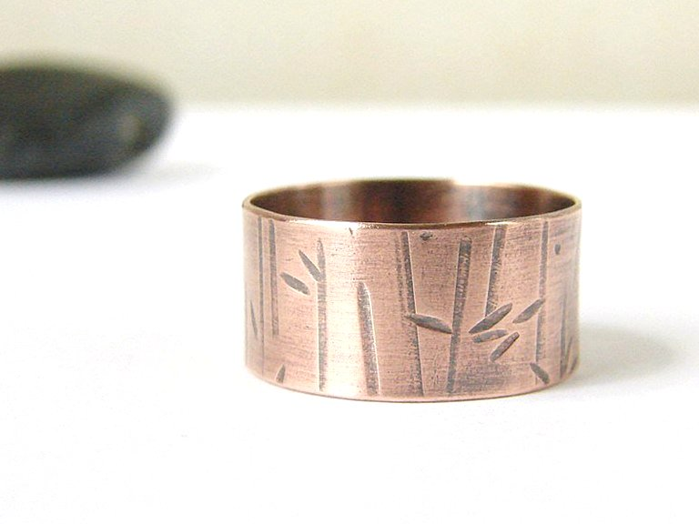 Mens ring . Wide copper band . Textured . Unisex