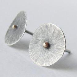 Sterling silver and gold studs . Mushroom coral