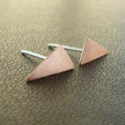 Tiny triangle earrings . Copper and sterling silver studs