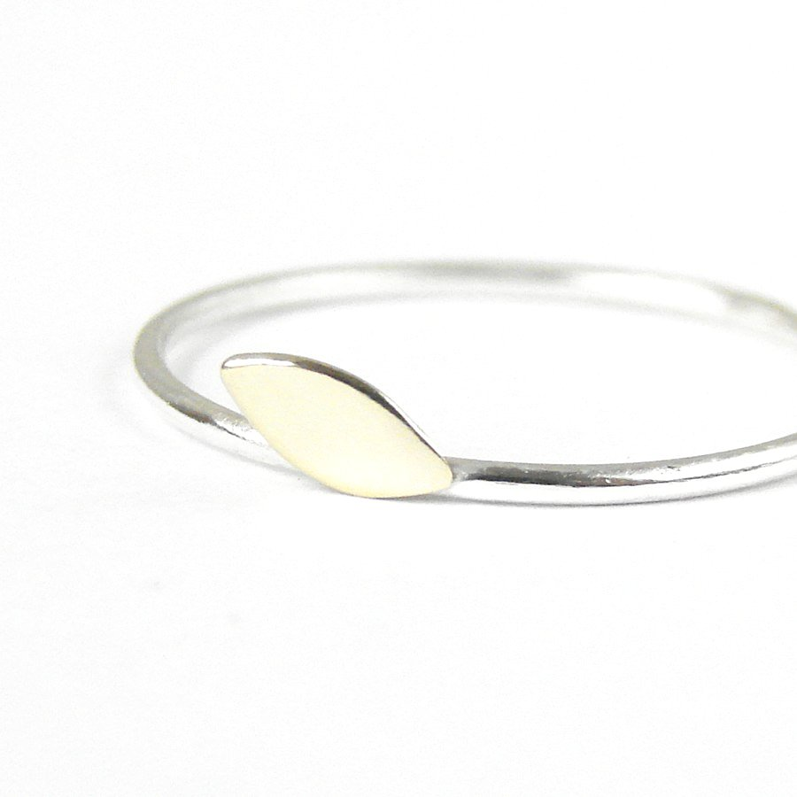 simple minimalist ring gold brass leaf and silver band